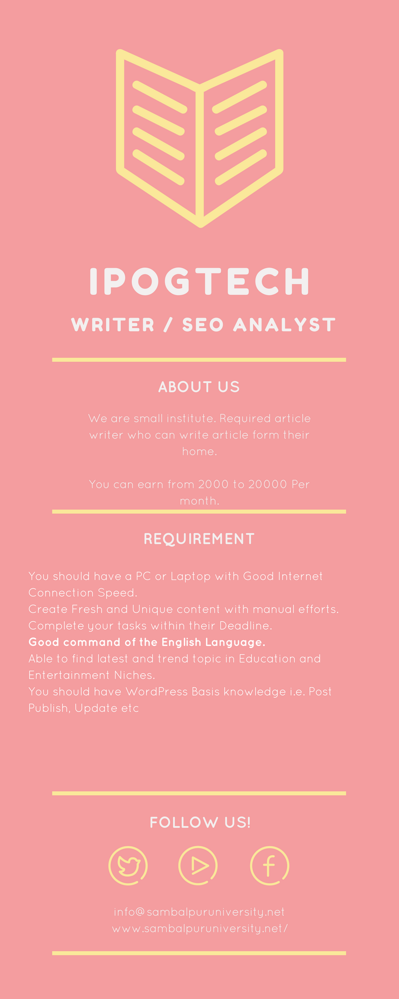 {Work at Home} Content Writers and SEO Experts Required Part Time