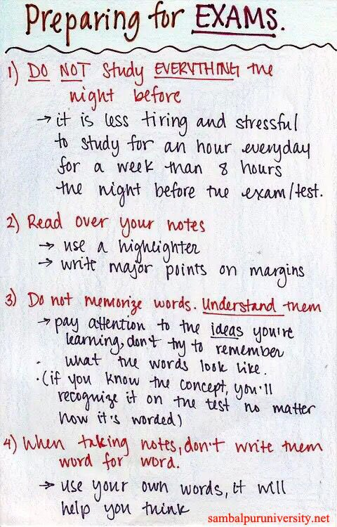 Study Tips For Exams