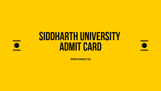 Siddharth University Admit Card